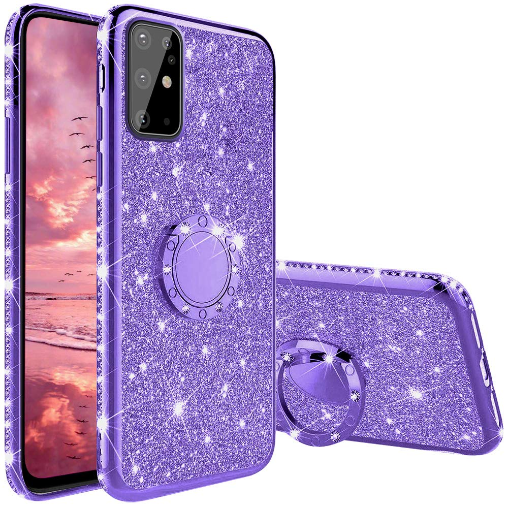 Diamond <font><b>Case</b></font> for <font><b>Samsung</b></font> <font><b>Galaxy</b></font> A71 A51 A50 A50S <font><b>A70S</b></font> A20S M30S Cover For <font><b>Samsung</b></font> S20 S10 Plus Ultra Glitter <font><b>Ring</b></font> Kickstand <font><b>Case</b></font> image