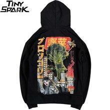 2020 mężczyźni bluza z kapturem w stylu Hip Hop bluza atak potworów w japońskim stylu Harajuku bluza z kapturem Streetwear śmieszne jesień bawełna bluza z kapturem czarny