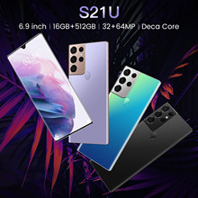 Newest Smartphone S21U Android11 16GB RAM 512GB ROM 6800mAh Deca Core CPU Mobile Phone 6.9