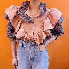 Женские Лоскутные рубашки в стиле ретро розового цвета Осенние