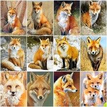 HUACAN olejne malowanie według liczb rama Fox zwierząt rysunek na płótnie farba według numeru zimowy krajobraz ręcznie malowane prezenty