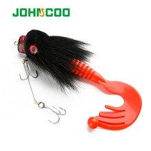 Johncoo 85g 22cm material do cabelo dos cervos rato grande grub macio ganchos rasos afundando isca de pesca artificial pique baixo pesca