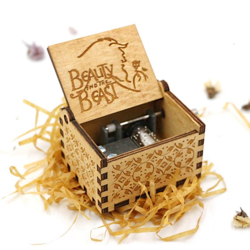 Старинная Музыкальная шкатулка с ручной резьбой по дереву в качестве подарка на день рождения и Рождество для вас и ваших друзей - Цвет: beauty and the beast