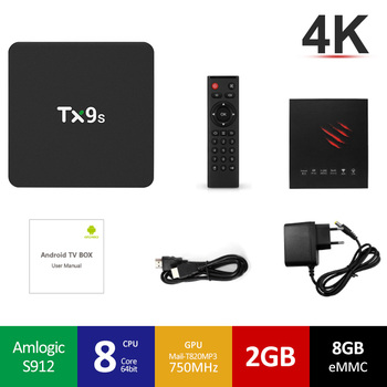 Tanix TX9S Amlogic S912 2GB de RAM 8GB ROM 2,4G WiFi 1000M LAN Android 7,1 4K H.265 TV Box