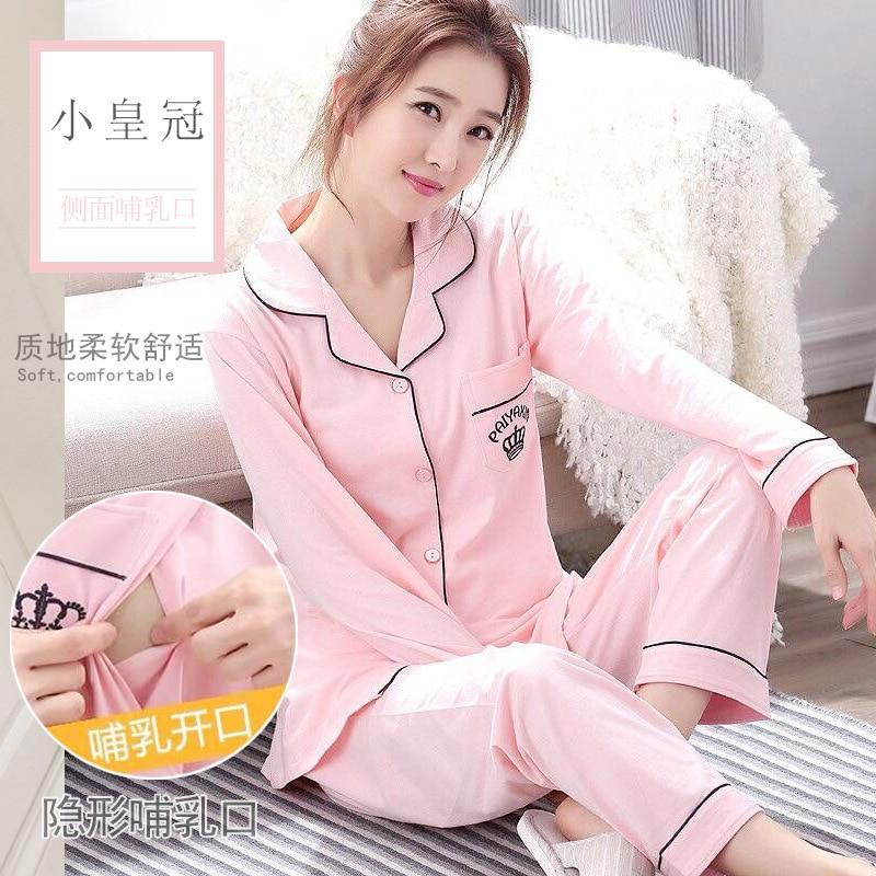 Spring And Autumn Pure Cotton Maternal Pregnant Women Pajamas Confinement Clothing Pajamas Tracksuit Nursing Clothes Set