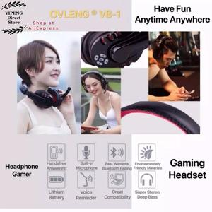 Image 4 - OVLENG V8 1 Over Ear Wireless Bluetooth Headphones Headset Gamer Support Microphone Gaming Earphones with LED Button