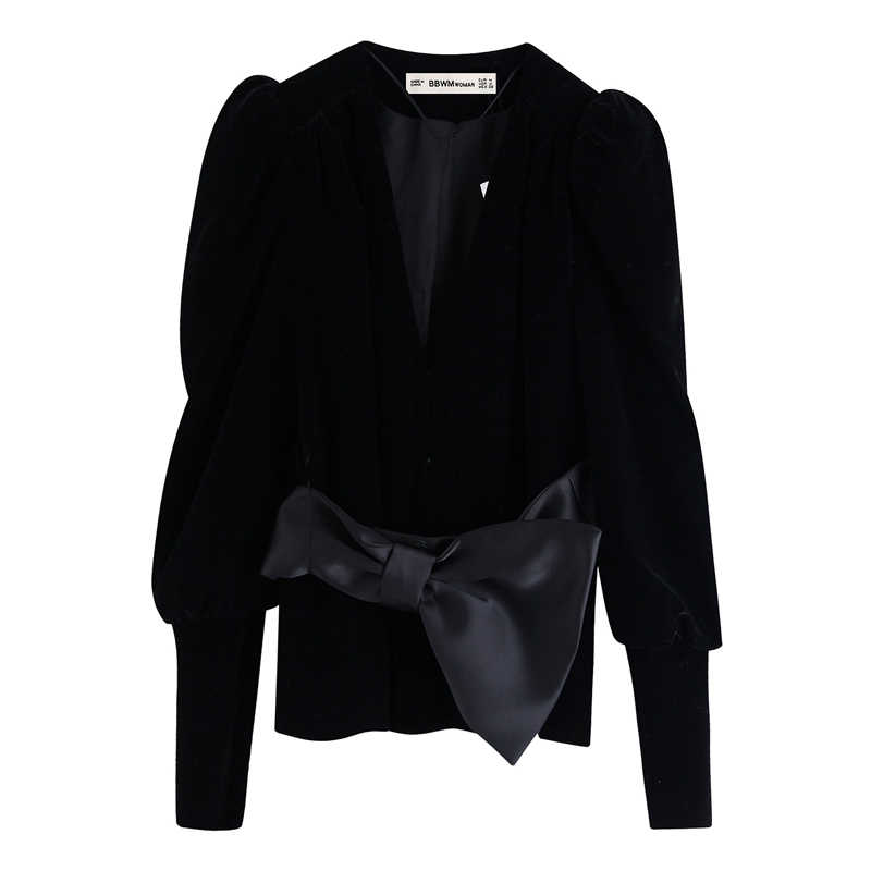 ZOEPO Solid Bow Jackets Women Fashion Casual V Neck Velvet Coats Women Elegant Slim Long Sleeve Jackets Female Ladies JAE