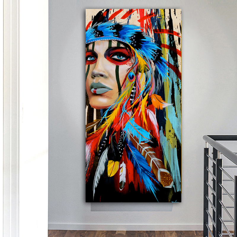 RELIABLI ART Warrior Women American Native Girl Wall Art Pictures For Living Room Canvas Painting Posters And Prints No Frame