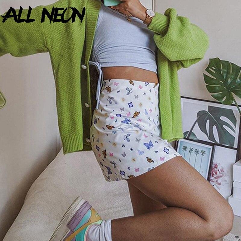 ALLNeon Cute Butterfly Graphic Mini Skirts For Women Chic E-girl High Waist Slit Hem Bodycon A-line Short Skirt Kawaii Bottoms