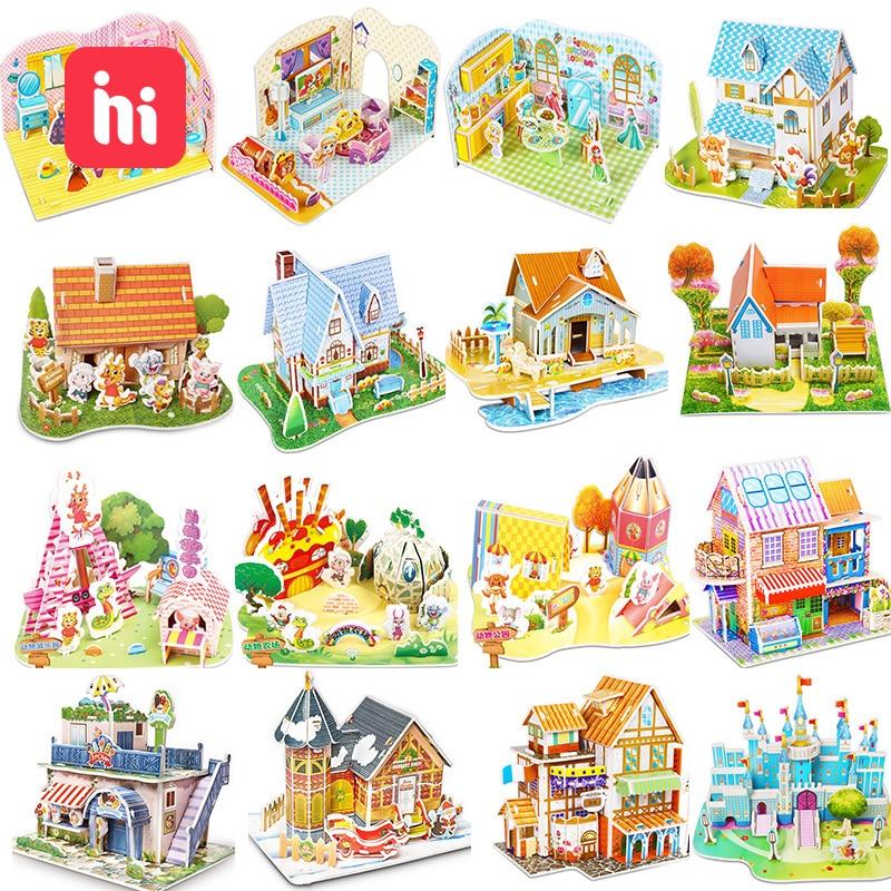 Kindergarten Cartoon Castle Garden House 3D Puzzle Jigsaw Educational Toys For Children Kids Craft Manualidades Diy Jouet Enfant