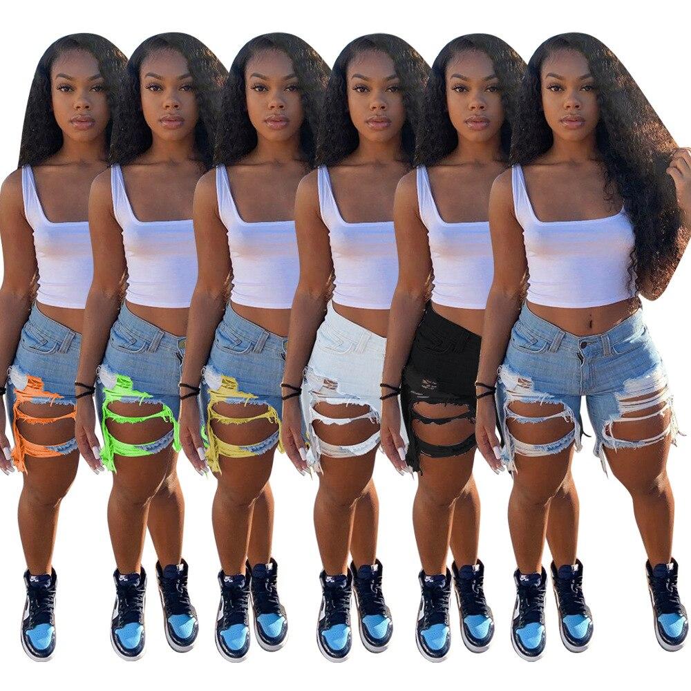 2020 mulheres verão shorts jeans cintura alta casual zíper voar bolsos jeans high street wear denim shorts moda calças gl5309