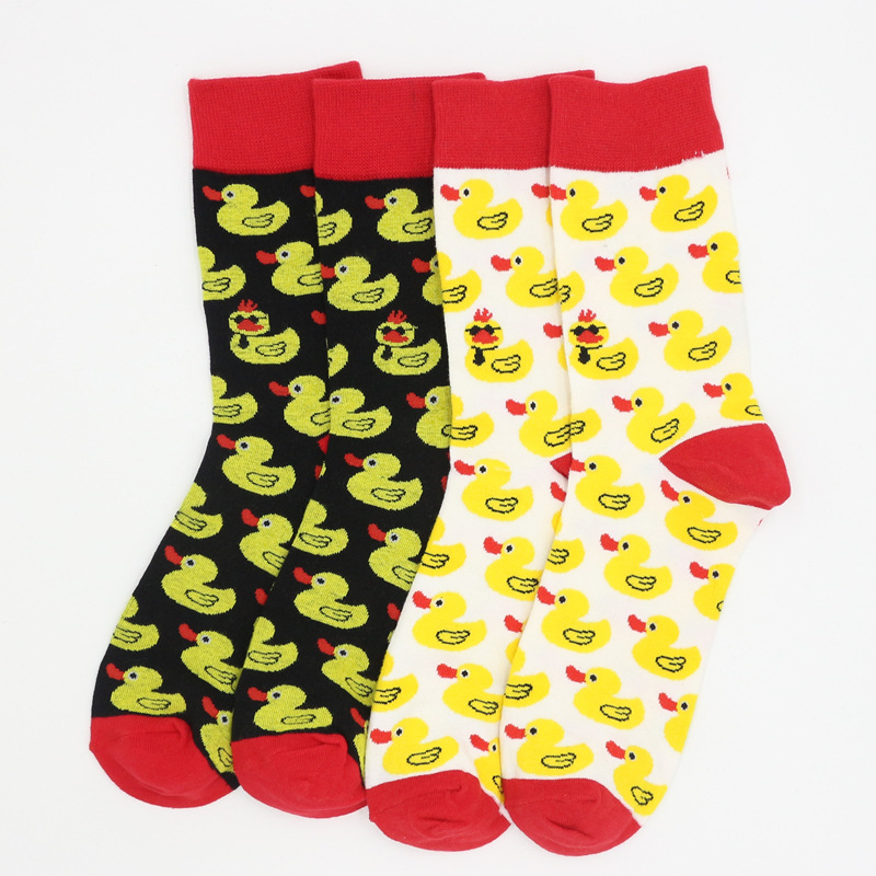 1 Pairs Men's Socks Cotton Harajuku Cartoon Cute Little Yellow Duck Print Socks Casual Street Style Hip Hop Happy Funny Socks