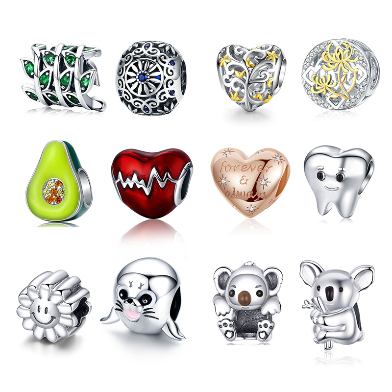 Hot Sale Authentic 925 Sterling Silver Love Heart Animal Beads Fit Original Pandora Bracelet DIY Jewelry Making For Women Gift