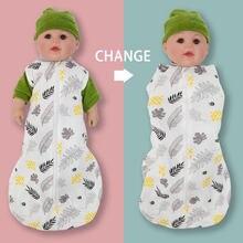 2in1 multifonctionnel sac de couchage pour nouveau-né 100% coton mignon impression bébé couverture doux 0-6M bébé Swaddle sac Aircondition