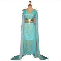 Mother of Dragons Game of Thrones Daenerys Targaryen Costume Long Dress Skyblue Hallowmas Party Cosplay Costume