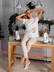 Atoff Home Пижама женская ЖП 024/1 (молочный+сердечки/клетка)