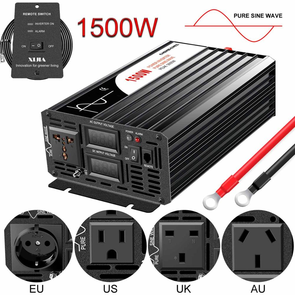 1500W pure sine wave solar power inverter DC 12V 24V 48V  to AC 110V 220V with remote control