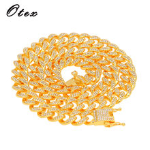 2019 new arrival Bling Men's Hip Hop Iced Full Rhinestone Cuban Chain Gold Silver Color Stainless steel Link Necklaces Jewelry(China)