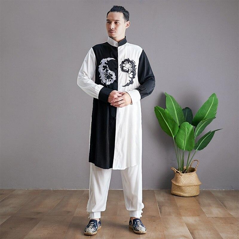 Linen Shirts Men Tracksuit Pants Sets Two Piece Kong Fu Suit Mens Streetwear Fashion Sweat Pant 2019 Men'S Sets KK3174 - 2