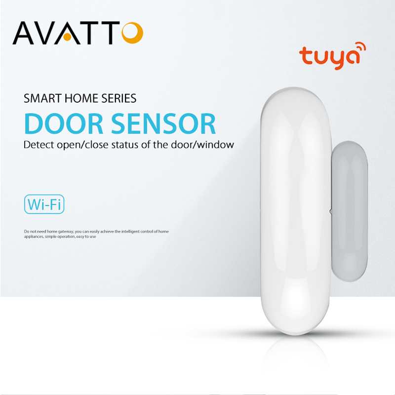 AVATTO Smart Home Mini Window/Door Sensor With WiFi Tuya App Notification Alerts Battery, Work With IFTTT Alexa Google Home