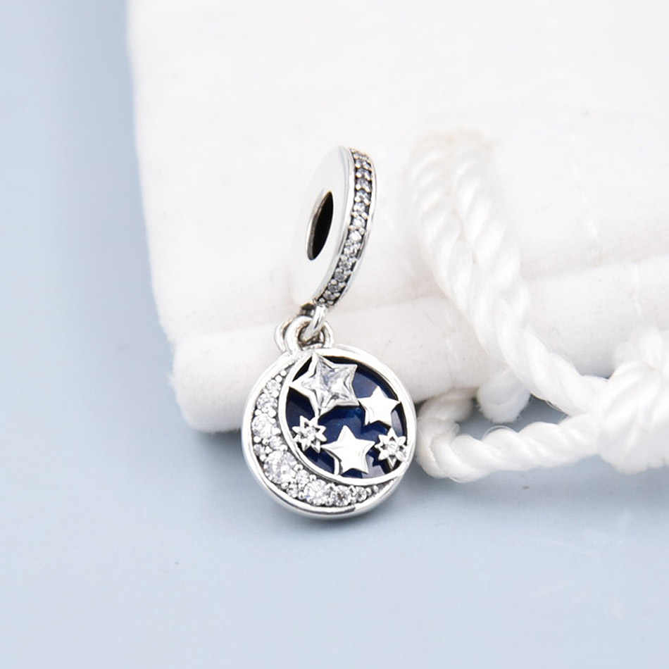 Asli Enamel Langit Malam & Star dengan Liontin Kristal Manik-manik Fit 925 Sterling Silver Manik Pesona Pandora Gelang DIY Perhiasan