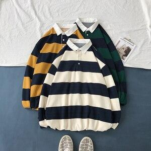 Image 2 - Мужской Хлопковый пуловер, Повседневная Свободная Толстовка с длинным рукавом и принтом в полоску, 3 цвета, 2019