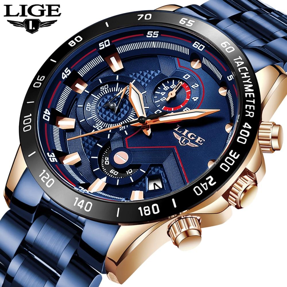 Relogio Masculino Fashion Mens Watches LIGE Top Brand Luxury Business Watch Men Stainless Steel Waterproof Quartz Clock + Box