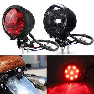 Image 1 - אופנוע זנב אור אדום LED קפה רייסר סגנון להפסיק זנב אור אופנוע בלם אחורי מנורת טאיליט עבור פר Bobber 12V