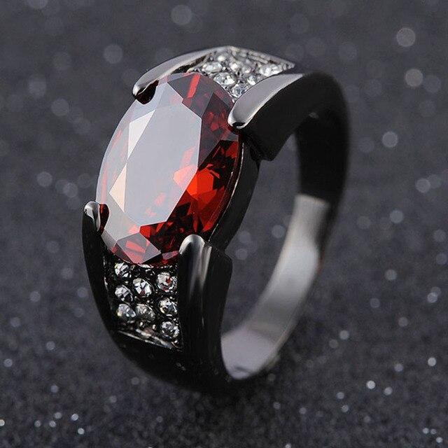 Anillo de oro negro con incrustaciones de circón, anillo para hombre con borde cruzado, joyería al por mayor, regalo de aniversario para hombre