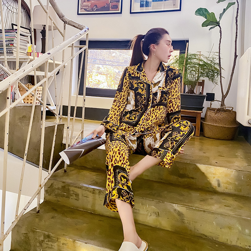 Spring New Satin Women Pajama Set Long Sleeve Suit Thin Section Leopard Fashion Pajamas