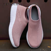 Flat Shoes Women Sock Sneakers Fashion Ladies Slip on Loafers Spring Vulcanize Shoes Female Air Mesh Sneakers Tenis Feminino