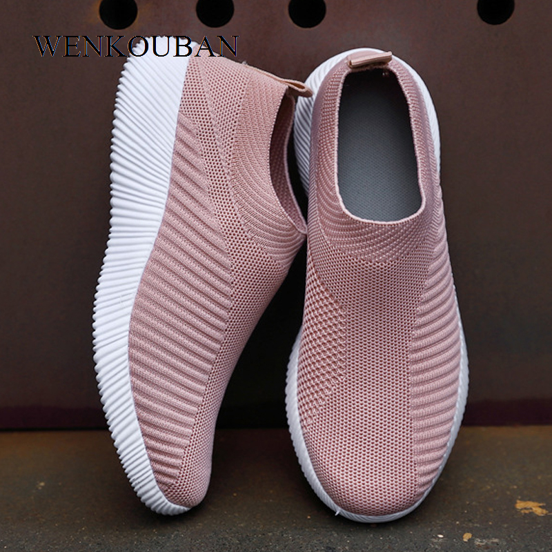 Flat Shoes Women Sock Sneakers Fashion Ladies Slip on Loafers Spring Vulcanize Shoes Female Air Mesh Sneakers Tenis Feminino