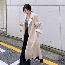 2019 Double-colored Double-sided Australian Wool Coat Lazy Loose Profile Classic Knee Tweed Women Long Coats