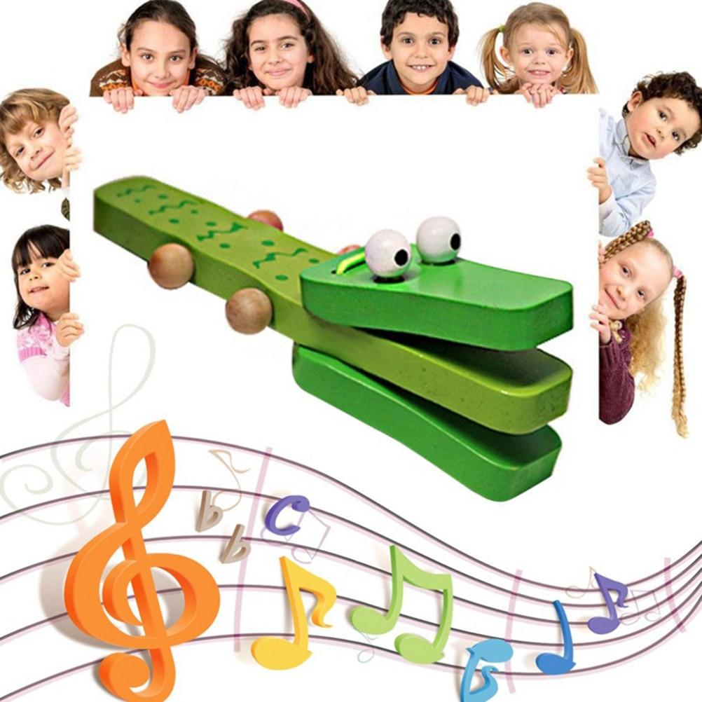 Educational Children\'S Toys Cartoon Crocodile Wooden Castanet Clapper Musical Instrument Child Preschool Toy For Children