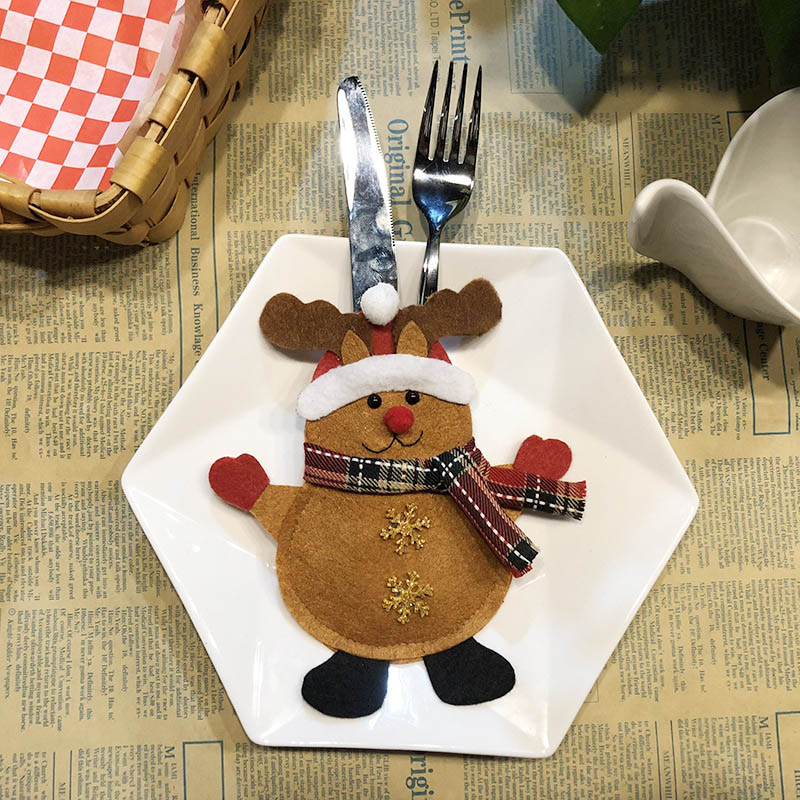 Шляпа Санты, олень, Рождество, Год, карманная вилка, нож, столовые приборы, держатель, сумка для дома, вечерние украшения стола, ужина, столовые приборы 62253 - Цвет: 2PD-63006-3