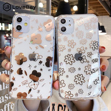 Lovebay Clear Electroplated Flowers Phone Case For