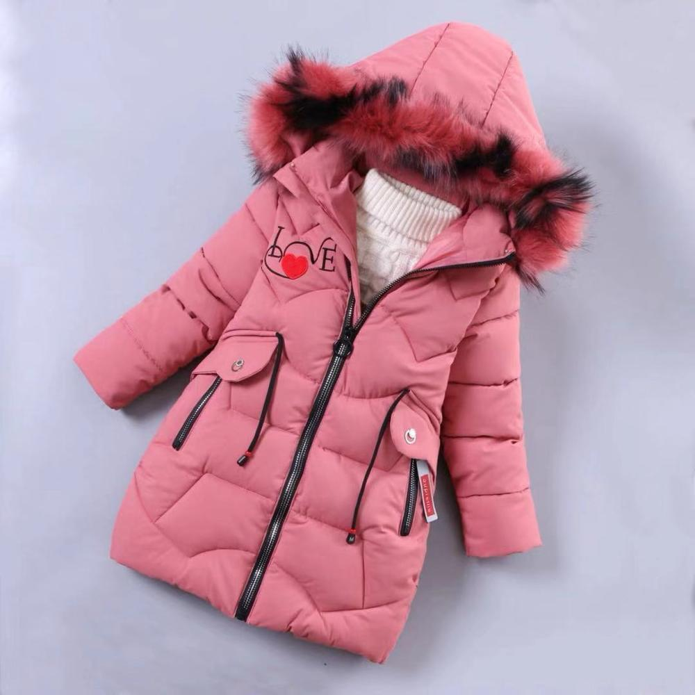 Girls Winter Jackets Coat Baby Outdoor Warm Clothing Thick Coats Children's Winter Jackets Kids Colourf Fur Collar Outerwear|Down & Parkas|   - title=