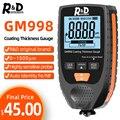 R&D GM998 car paint coating thickness gauge car paint electroplate metal coating thickness tester meter 0-1500um Fe & NFe probe