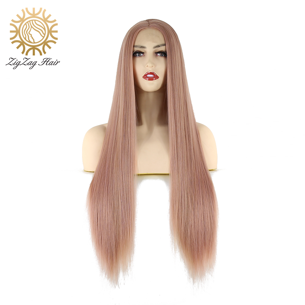ZigZag Rose Gold Wig Mix Color Straight Long Synthetic Lace Front Wig for Women Heat Resistant Fiber Hair Middle Part Daily Wear