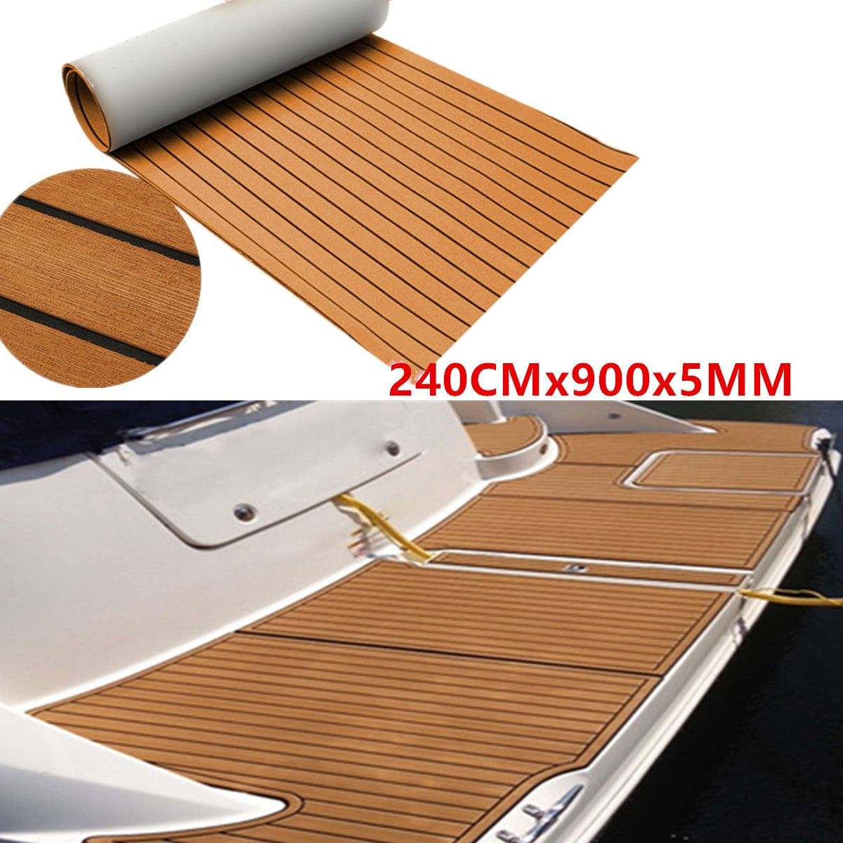 900x2400x5mm Self-Adhesive EVA Foam Teak Brown With Black Line Faux Teak Boat Decking Sheet