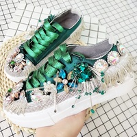 Women Vulcanized Shoes Rhinestone Chunky Sneakers Women's Thick Sole Platform Shoes 2019 Bling Crystal Flats Ladies Casual Shoes