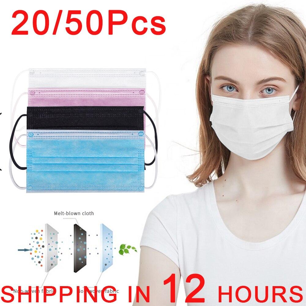 Одноразовые маски для лица Взрослых Черная Mascarillas Nonwove 3 Слои маска для полости рта фильтр против пыли дышащий защитный
