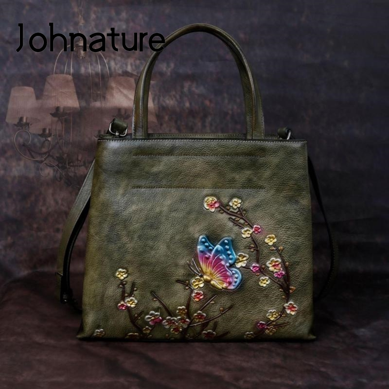 Johnature Retro Large Capacity Luxury Handbags Women Bags 2020  New Genuine Leather Floral Casual Tote Shoulder