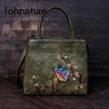 Johnature retro grande capacidade de luxo bolsas femininas sacos 2020 novo couro genuíno floral casual tote ombro & crossbody sacos