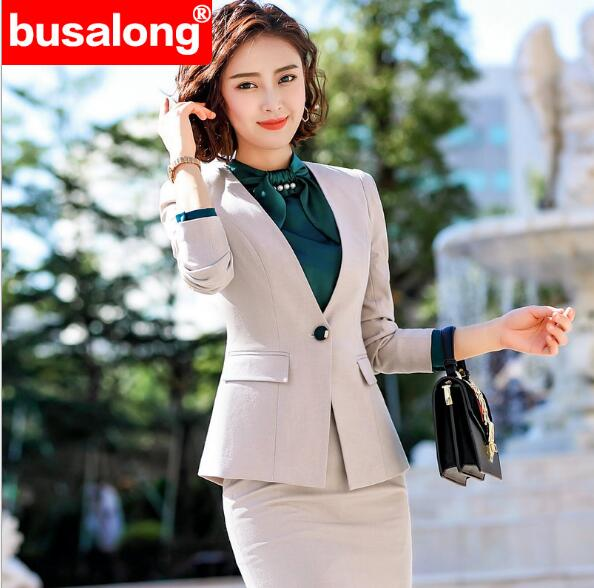 Autumn Fmasuth Elegant Ruffle Office Uniform Skirt Suit Autumn Full Sleeve Blazer Jacket+Skirt 2 Pieces Female Work Skirt Suits