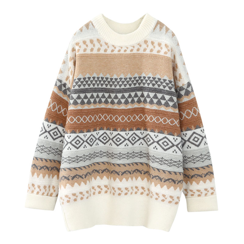 vintage women sweater and pullovers knitted loose thicken warm lady elegant pulls outwear coat tops