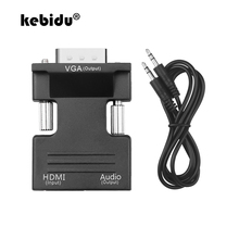 Kebidu HDMI إلى VGA أنثى إلى ذكر محوّل صغير مع محول الصوت كابل دعم 1080P إشارة الإخراج