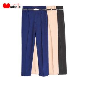 Image 1 - Pantalon crayon pour femmes, pantalon de bureau, taille haute, longueur cheville, bleu, Beige, noir, Harem, automne et printemps 2019