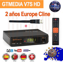 1080P DVB-S2 Gtmedia V7S Hd Receptor Satellietontvanger Met Usb Wifi Gratis Europa Cline Voor 2 Jaar Spanje Portugal hd Tv Decoder(China)