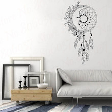 Vinyl Wall Sticker Home Decor Feathers Dreamcatcher Wind Night Symbol Indian Decal Bedroom Livingroom Decor WL1734 arrow wall decal dreamcatcher vinyl wall sticker bohemian design bedroom decor dream catcher feathers symbol wall mural ay1451